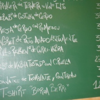 chalk board of pintxos