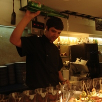 Pouring the Txakoli